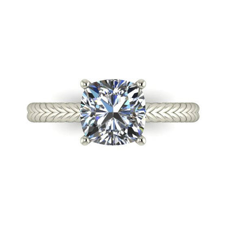 Twisted Rope Engagement Ring Cushion Cut Harro or NEO Moissanite Engagement Ring