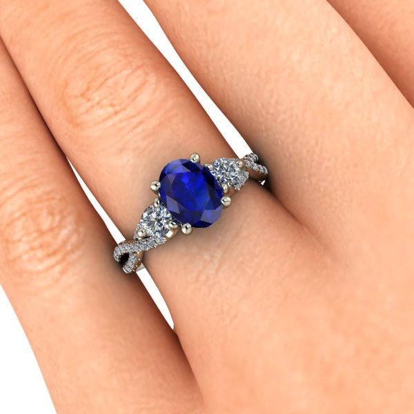 Oval Sapphire Engagement Ring Natural Blue Sapphire Infinity Band