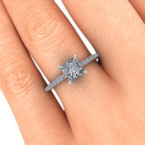 Moissanite and Diamonds Engagement Ring, 1.70 Carats Princess Cut Moissanite