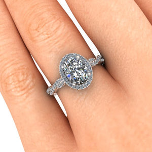 Oval Moissanite Engagement Ring, 8x6 mm Forever One, Halo Style Engagement Ring