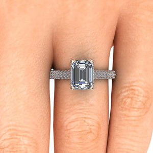 Emerald Cut Moissanite Engagement Ring, 9x7 Emerald, 18k Rose Gold