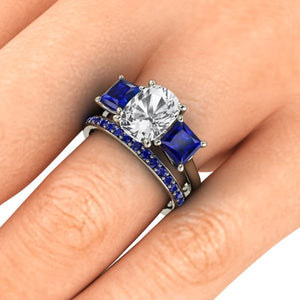 Sapphire Engagement Ring, 2.50 Carats Elongated Cushion Cut White Sapphire