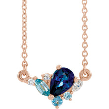 Blue Sapphire Necklace, Pear Shape Sapphire and Blue Zircon, and Aquamarine