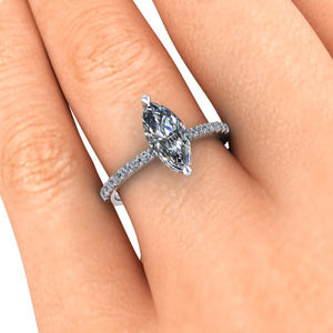 Marquise Shape Moissanite Engagement Ring, Ethical Diamonds, Recycled White Gold