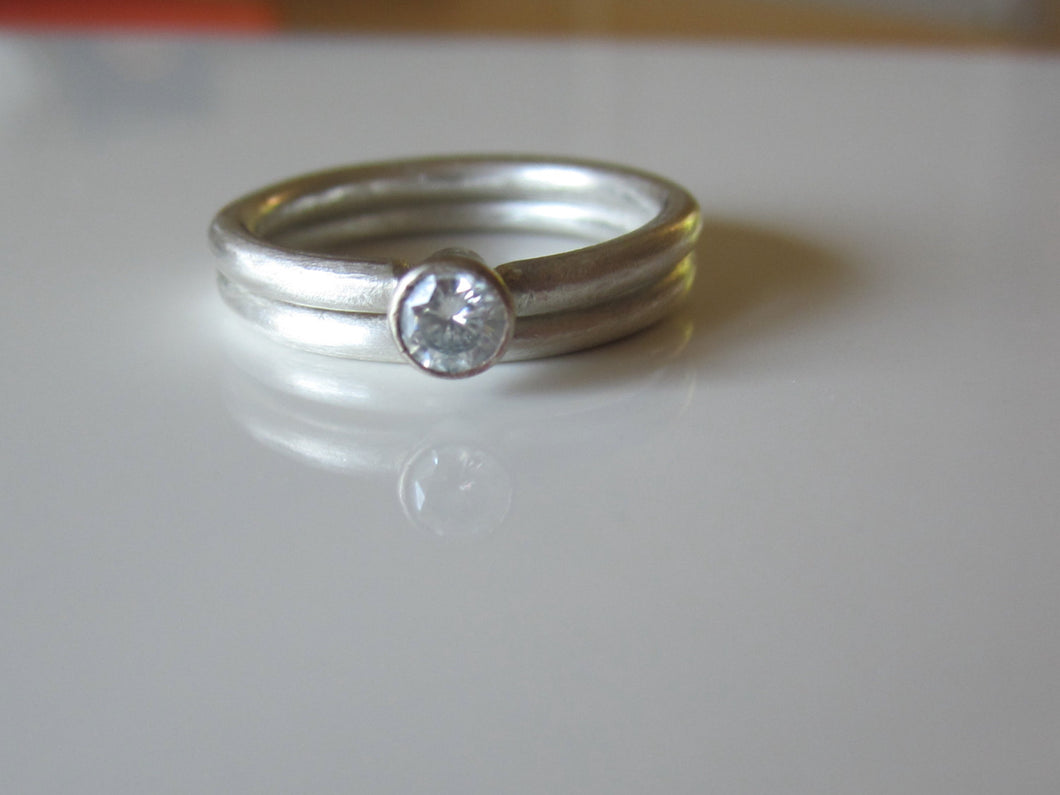 Modern Moissanite Wedding Rings 14K Recycled Gold Argentium Sterling Silver Ethical Eco Friendly