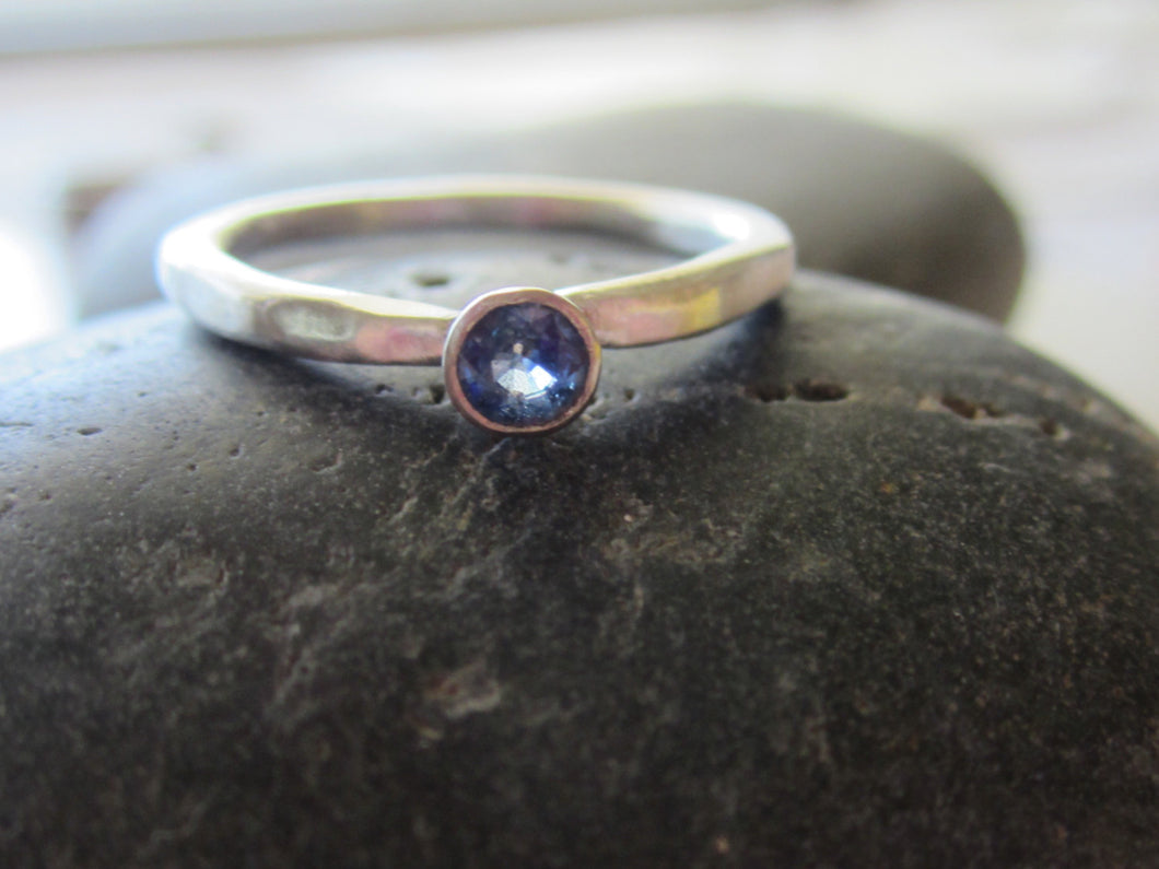 Blue Sapphire Stacking Ring Recycled Argentium Sterling Silver