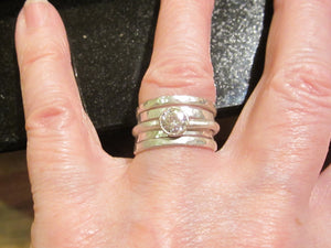 Forever One Moissanite Stacking Rings, Recycled Tarnish Resistant Sterling Silver