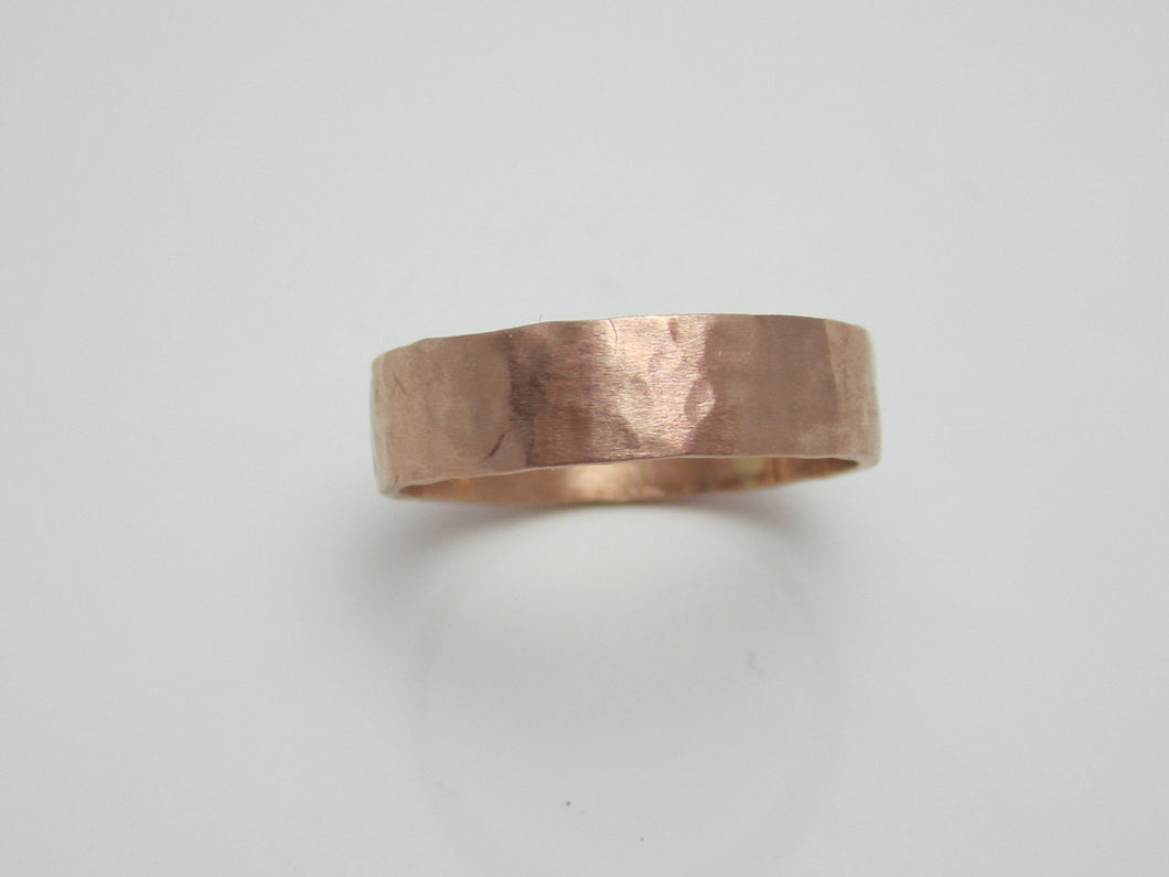 Rose Gold Wedding Band Hammered 14K Recycled Gold
