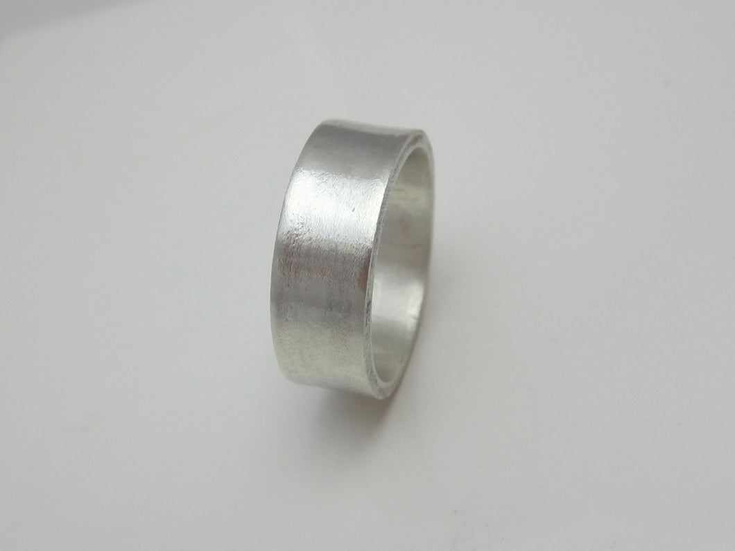 Wide Men's Wedding Band Recycled Argentium Sterling Silver 7mm Brushed Finish