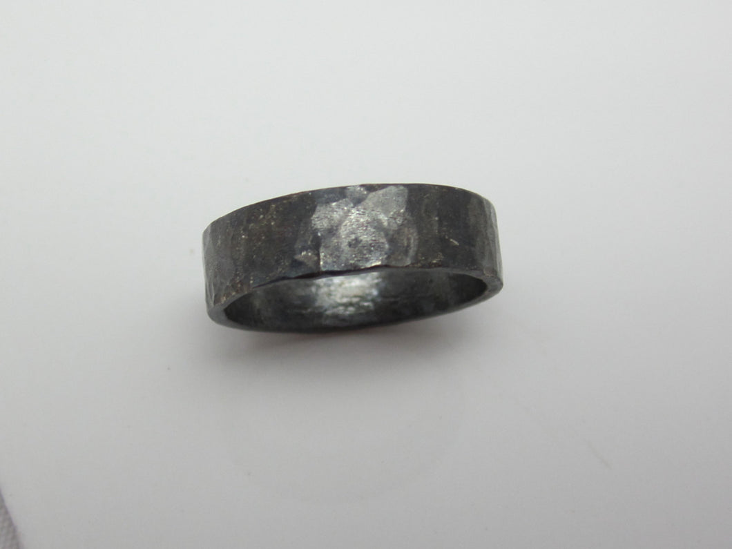 Wide Band Recyled Sterling Silver 5mm Oxidized and Hammered Unisex