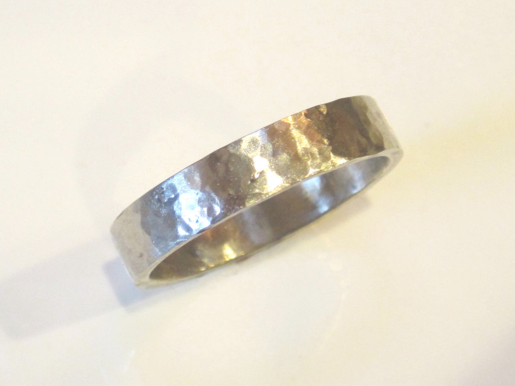 Men's Recycled White Gold Wedding Band 4mm Wide