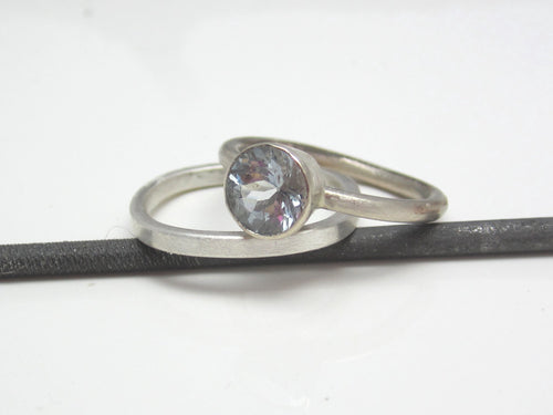 Aquamarine Ring Handmade Recycled 14K White Gold March Birth Stone Eco Friendly Fashion Jewelry