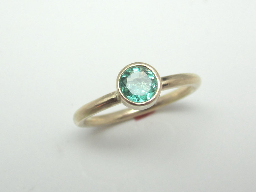Emerald Ring Recycled 14K Yellow Gold May Birthstone Eco Friendly Emerald Ring