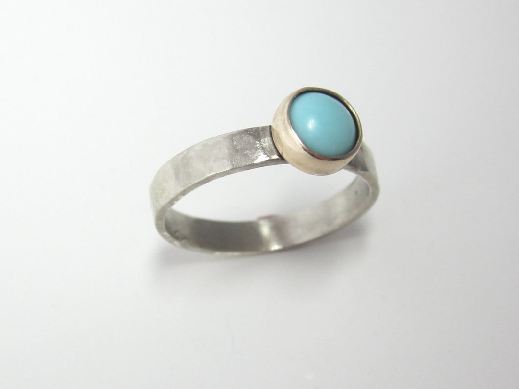 Turquoise and Gold Boho Stacking Ring