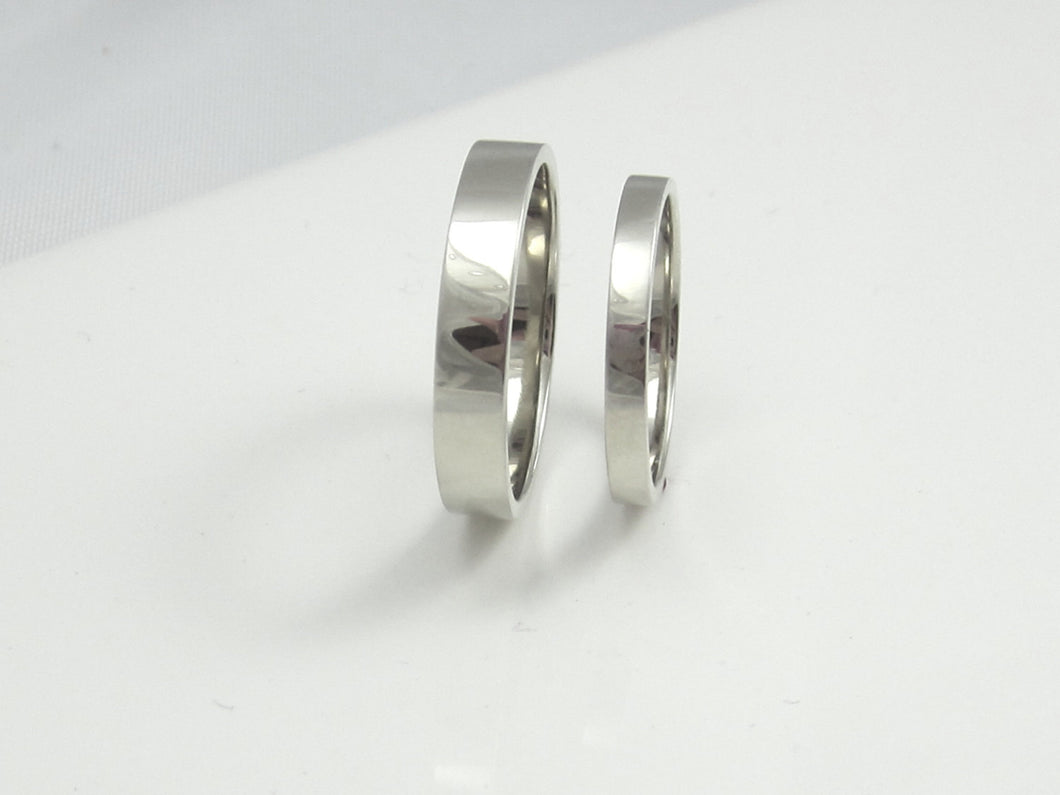 His and Hers Recycled White Gold Wedding Bands