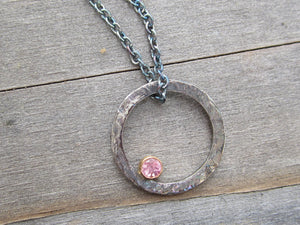 Round Pendant Necklace Recycled Sterling Silver Pink Tourmaline in Gold Bezel