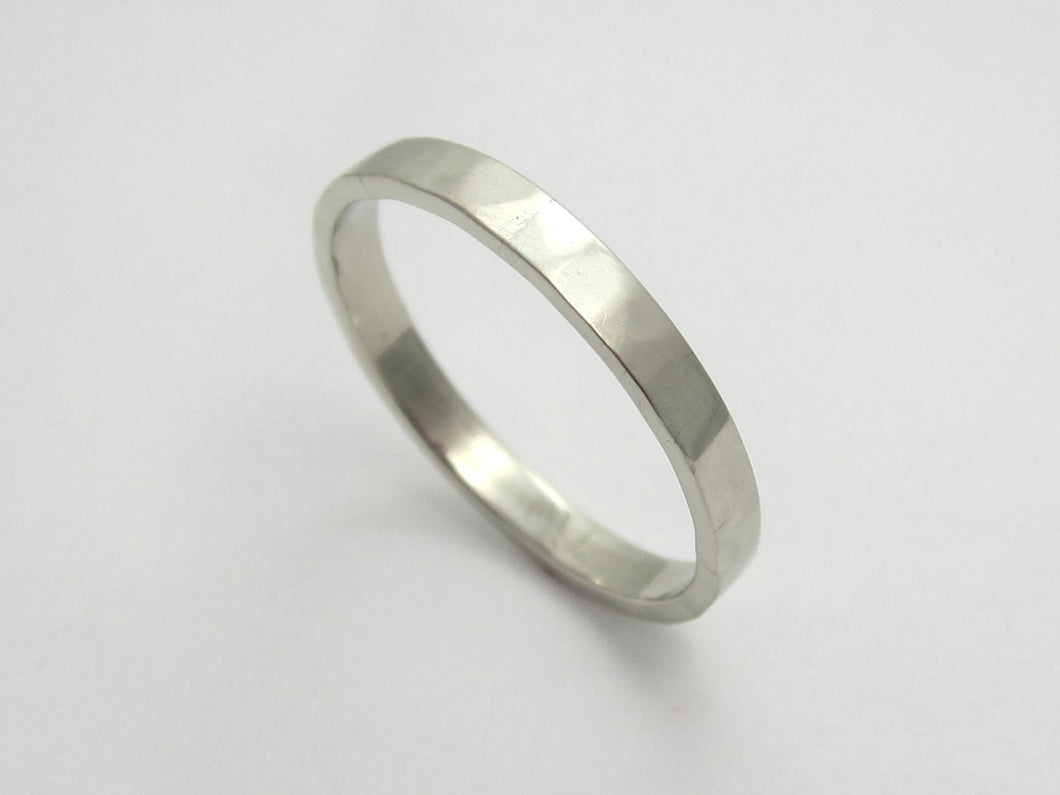 Skinny White Gold Wedding Band 14K Recycled Gold