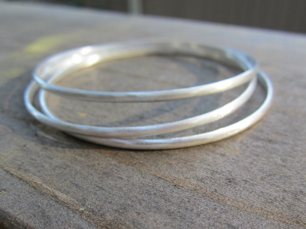 Sterling Silver Bangle Bracelet 3 Classic BanglesTarnish Resistant Argentium