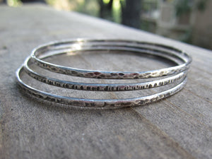 Sterling Silver Bangle Bracelets 3 Hammered and Oxidized Bangles Recycled Sterling Silver