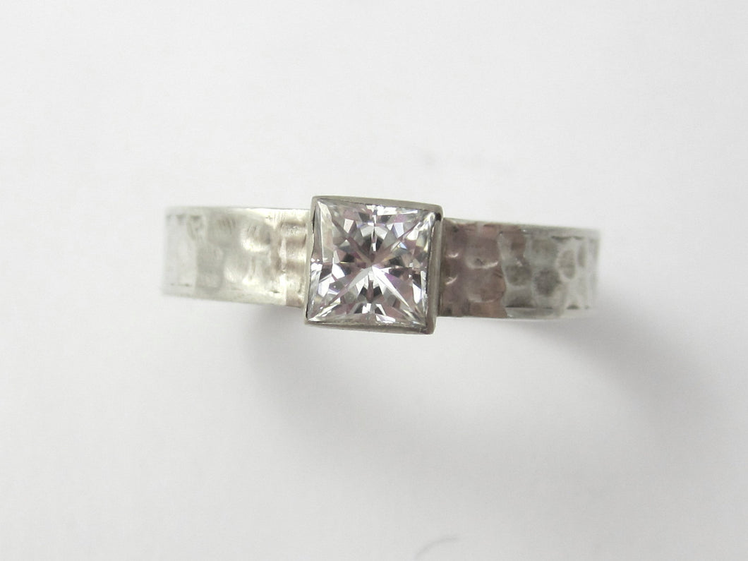 Princess Cut Moissanite Engagement Ring, 14K Recycled White Gold