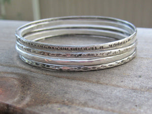 Sterling Silver Bangle Bracelets 5 Hammered  Oxidized Recycled Silver