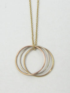 3 Eternity Rings Necklace Tri Color 14K Solid Gold Recycled Gold Eco Friendly Modern Fashion Jewelry