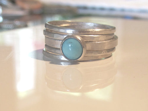 Turquoise and Silver Stacking Rings