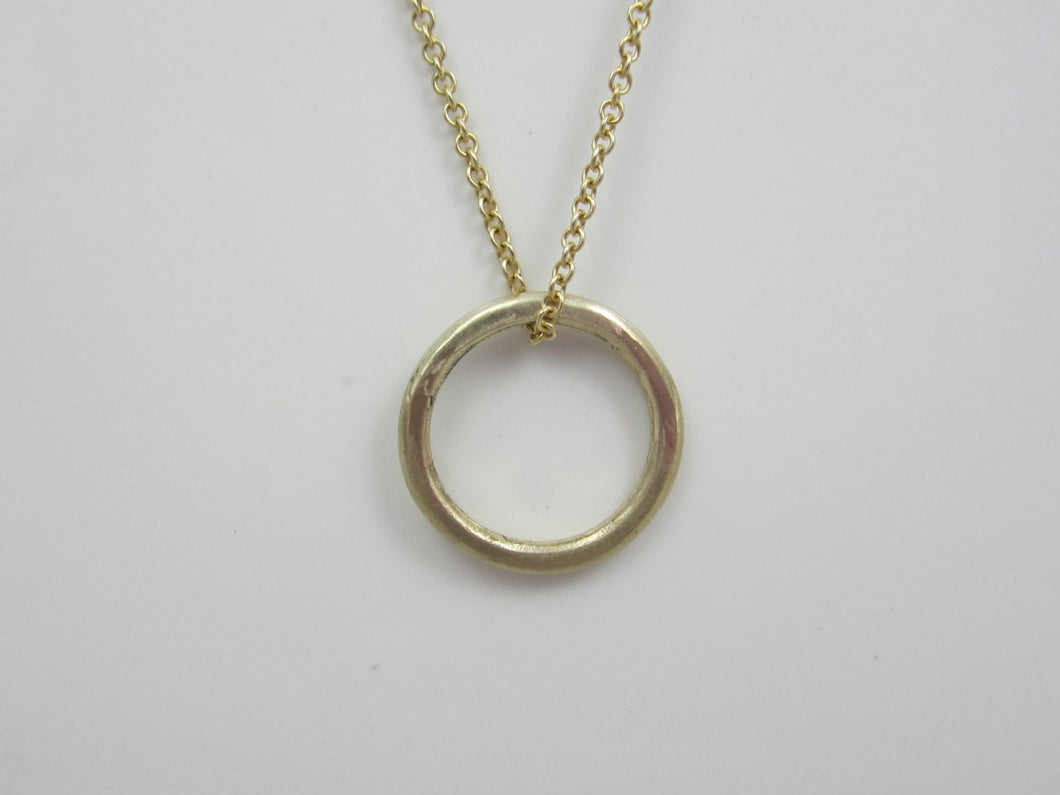 Circle Necklace, Ready to Wear Eternity Circle Necklace, 14K Recycled Yellow Gold