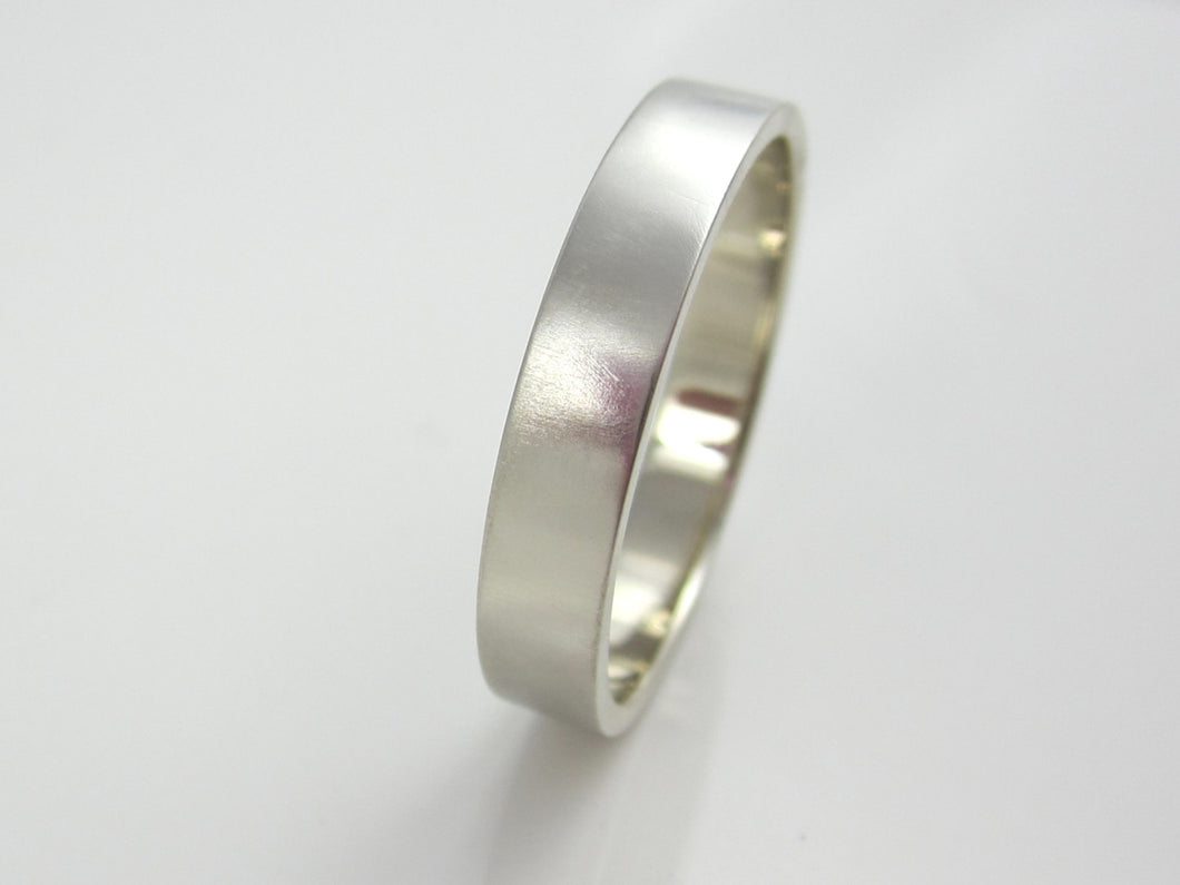 Wide White Gold Wedding Band 14K Recycled White Gold