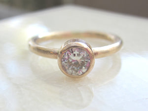 Moissanite Engagement Ring 14k Solid Yellow Gold