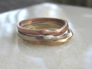 Tri Color Gold Mobius Stacking Rings
