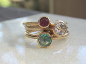 Stacking Rings Moissanite Emerald Ruby Solid 14K Yellow Gold