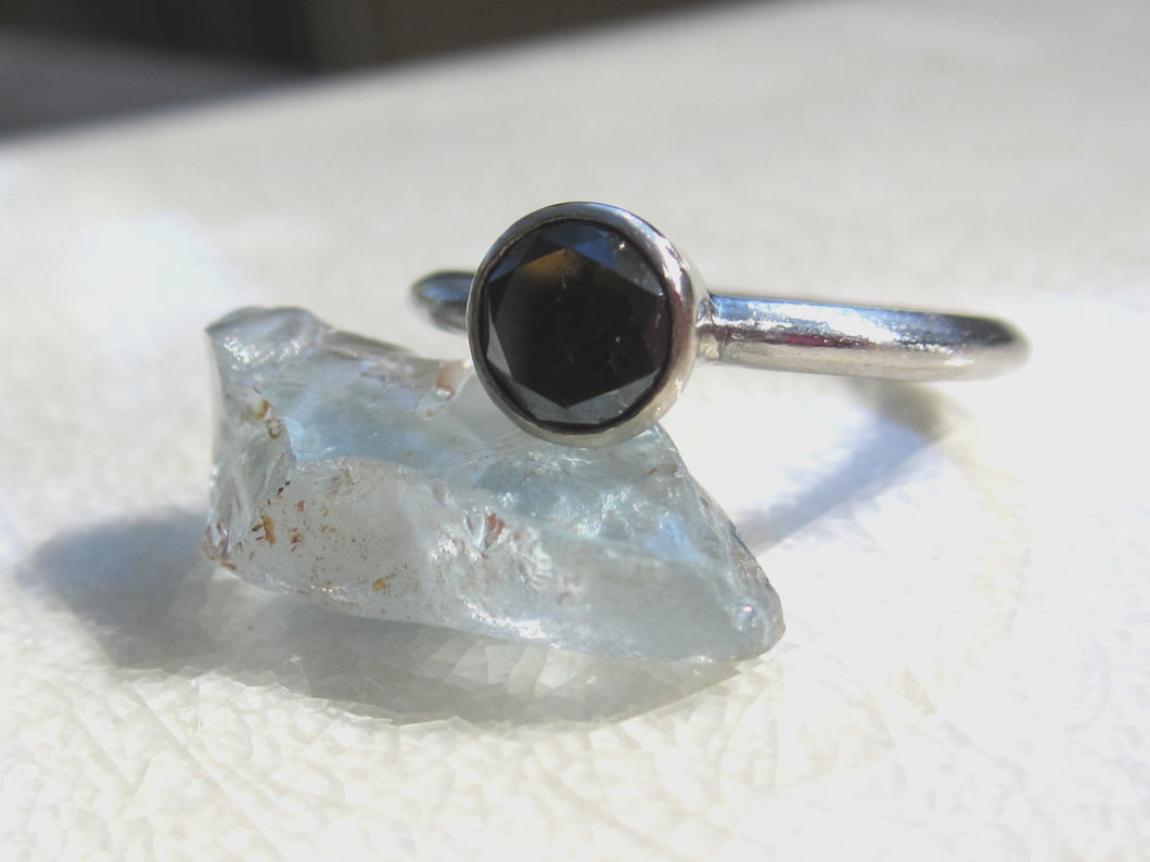 Black Diamond Engagement Ring Recycled Palladium Recycled White Gold Eco Friendly