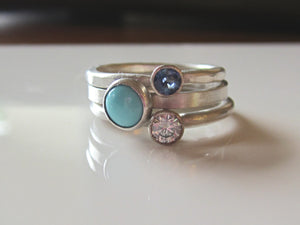 Moissanite Stacking Rings Moissanite Sapphire Turquoise Sterling Silver Stacking Rings
