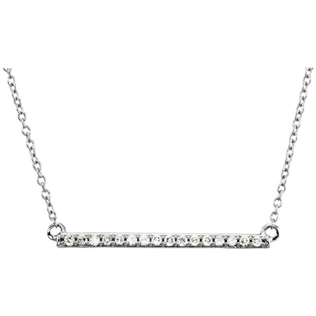 Diamond Bar Necklace 14k White Gold