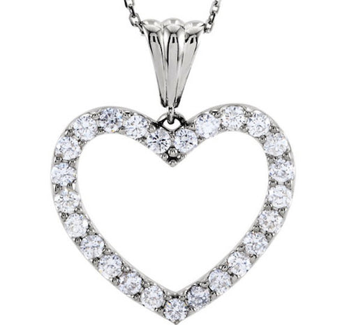 Diamond Heart Necklace Pendant 1 CTW 14k White Gold
