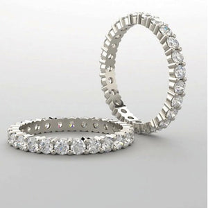 Moissanaite Eternity Band, 3 3/4 Carats of Moissanite, 18K White Gold