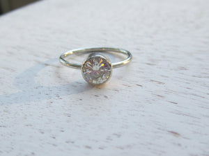 Forever One Moissanite Engagement Ring 1 Carat Moissanite Skinny Band