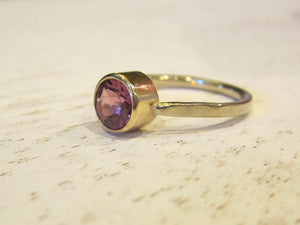 Handmade Rhodolite Garnet Stacking Ring 14K Recycled White and Yellow Gold January Birthstone