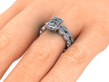 Vintage Inspired Infinity Style Engagement Ring Emerald Cut Moissanite Ethical Diamonds