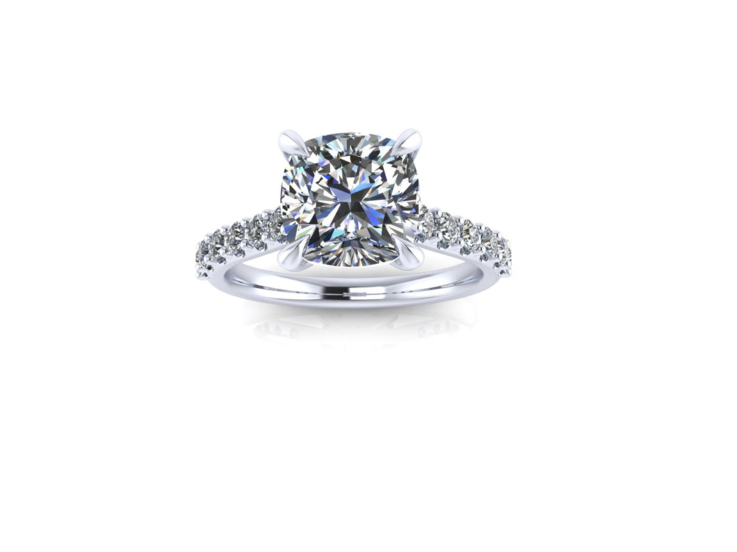 Cushion Cut Moissanite Engagement Ring with Lab Grown Diamonds