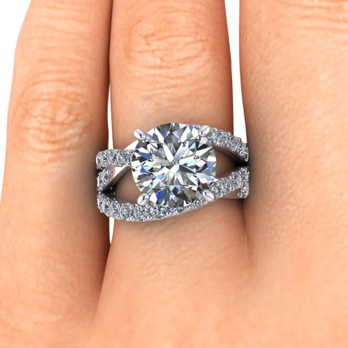 NEO Moissanite and Diamond Engagement Ring Split Shank Crisscross Ring