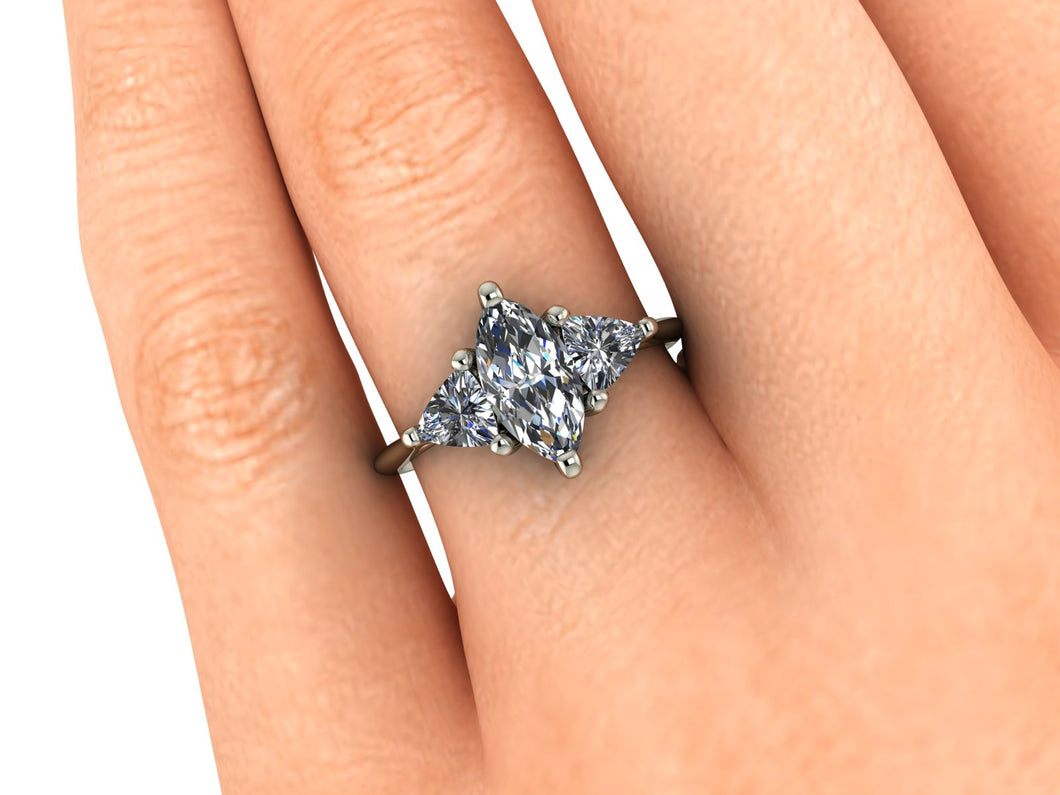 Vintage Inspired Marquise Shape Moissanite Trilogy Engagement Ring