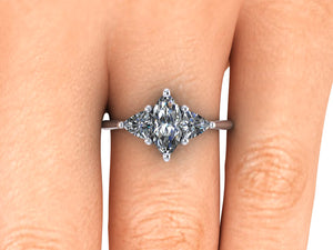 Vintage Inspired Marquise Shape Harro Moissanite Trilogy Engagement Ring