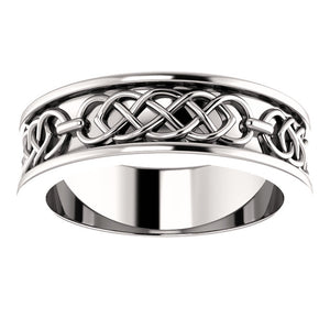 Unisex Wedding Band with Celtic Design of Recycled White Gold