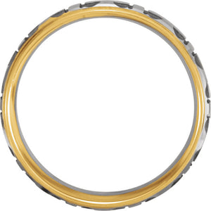Men's Cross Wedding Band Two Tone White and Yellow Gold