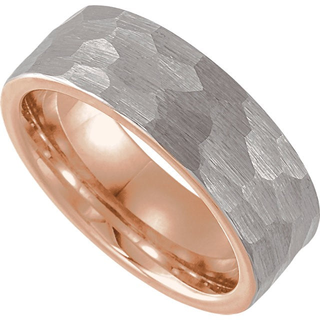 Men's Tungsten and 18k Rose Gold Plate