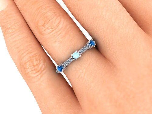 Anniversary Ring, Mother's Ring, Aquamarine and Ceylon Blue Sapphires