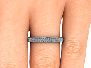 Pave Diamond Wedding Band Triple Row of Diamonds