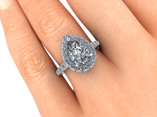 Pear Shape Engagement Ring 2.10 Carat Moissaniate with Lab Created Diamonds